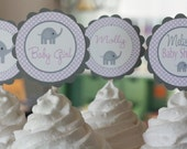 12 Baby Shower Purple Lavender & Grey Elephant Cupcake or Cake Toppers - Ask About our Party Pack Sale - CUSTOM - Free Ship Over 65.00