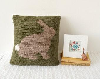 RABBIT CROCHET CUSHION, Bunny Pillow, Hare Tutorial