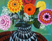 Posies, Zinnias and Roses Modern FLORAL Print 8x10