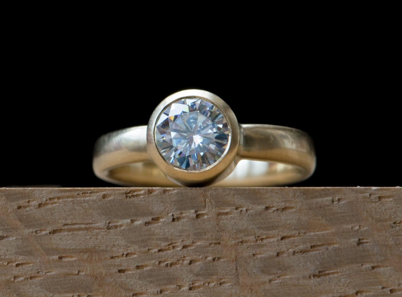 18K Gold Moissanite Engagement Ring Moissanite Gold Ring