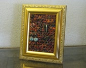 Earring Display and holder repurposed gold color picture frame crochet, yarn from Indian silk saris, upcycled, recycled Valentine's Day Gift