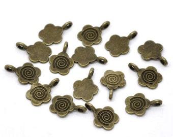 10 Glue on Flower Brass Bails Flat Back