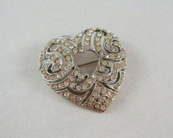 Vintage Silver Rhinestone Heart Pin