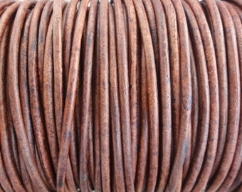 3mm Leather Cord - Red Brown Distressed Leather Cord Round Natural Dye - 2 Yard Increments