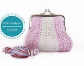 crochet purse pattern,snap frame crochet coin purse pdf, tutorial, easy beginners, pouch pattern, change purse crochet pattern