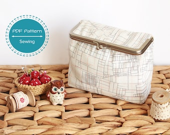 box pouch pattern, pdf pattern sewing tutorial for make up bag, cosmetics bag, retro sewing kit