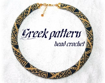 Greek ornament bead crochet rope necklace or bracelet pattern tutorial