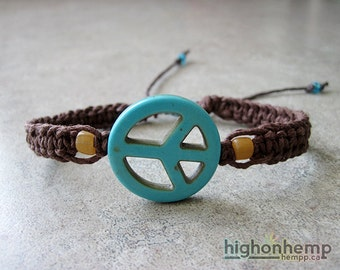 Peace Sign Bracelet, Hippie Jewelry, Hemp Bracelet, Turquoise Peace Sign, Howlite Bracelet