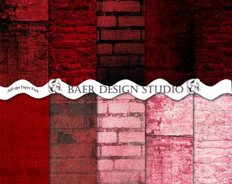 Distressed digital paper, Red Digital Background Paper, Grunge Valentines Paper, Red Grunge Paper, Brick Scrapbook Paper, #14042B