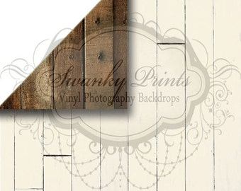 NEW ITEM / 5ft x 8ft REVERSIBLE Vinyl Backdrop / Double sided / Cream Wood Western