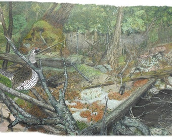 Grouse in forest boreal wilderness watercolor on blank note card