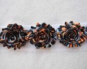Shabby Chiffon Rose Trim, Shabby Flower, Grey/Black/Orange Halloween, 1 yard