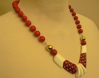 vintage jewels ...  FAB Retro RED White and Shiny Gold NECKLACE vintage antique plastic celluloid bakelite    ...