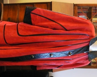 vintage chic ... SALE item MILANO STUNNER Red Suede Black leather rare find -  wow retro wow ...
