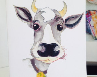 Cow - Black and White Cow - Moo - blank card