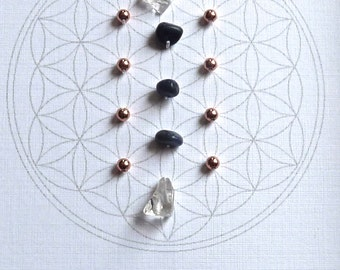 SEPTEMBER BIRTHSTONE GRID --- framed crystal grid --- sapphire, copper, clear quartz --- flower of life
