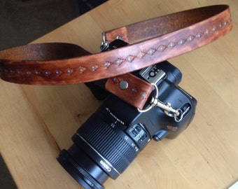 Leather Camera Strap Southwest Western Distressed Java Brown and Turquoise- Custom - Personalized - Monogrammed - Love That Leather