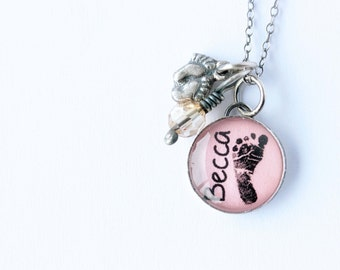Mom Necklace with Footprint and Name