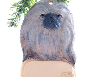 Pekingese Christmas ornament -  Peke dog ornament - Personalized Free with your choice of name and or year - made in America  (d132)