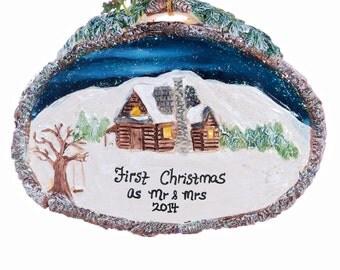 Log Cabin ornament - Christmas ornament personalized free - new home Christmas ornament - family ornament - vacation ornament (f104)