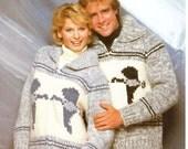 White Buffalo Wool Cowichan Sweater  Men's & Women's Zippered Cardigan B6104 Knitting PATTERN Sizes 32 to 44 - Instant Download on Etsy