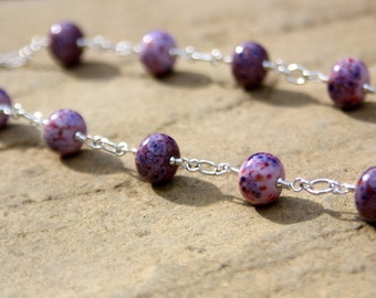 Pink and Purple Lampwork Bead Necklace on Sterling Silver Wire - SRA