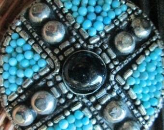Belt Supplies Jewelry Faux Turquoise Black Silver Belt Buckle