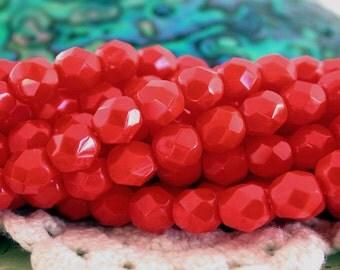 2 Strands 6mm Fire Polished, Czech Fire Polished Beads, Czech Glass Beads, Firepolished Beads, Opaque Red Beads  CZ-330