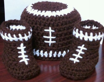 FOOTBALL BEANIE & BOOTS Crochet Pattern / Football Baby Crochet Hat Pattern / Baby Footbal Crochet Boots Pattern