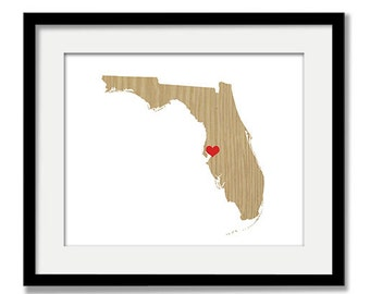 Florida or ANY STATE Natural Series - Custom Personalized Heart Print I Love Florida USA Hometown Wall Art Gift Souvenir