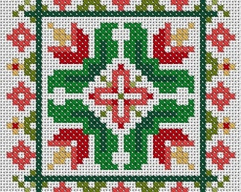 Tulips Scissor Fob or Ornament Cross Stitch PDF Chart Pattern Instant Download Floral Square Tile Small Needlework