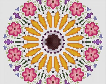 Sunflower Rose Window Mandala Cross Stitch PDF Pattern Chart Instant Download Whole Stitches Circular