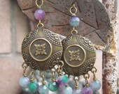 Tri Colored Jade - Lavender Green White - Gypsy Bohemian Chandelier Earrings