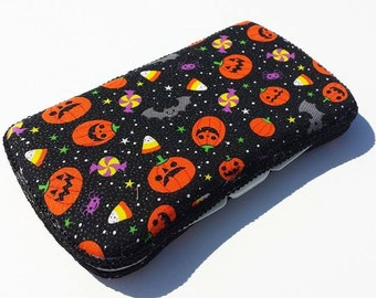 Baby Wipes Case, Travel Wipes Case, Black Halloween and Pumpkin Print
