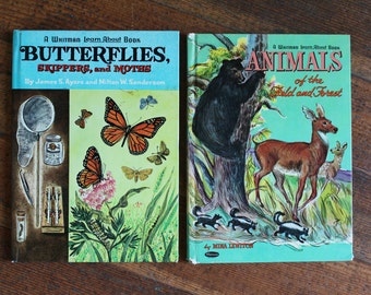 Vintage Children's Books -  Set of 2 - Butterflies, Skippers and Moth's - Animals of the Field and Forest (A Whitman Learn About Book)