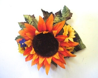 Orange Sunflower Hair Clip, Whimsical Fall Look, Orange Flower, Hair Decoration, Bridal Hair Accessory, Handmade OOAK, Wedding Fascinator