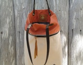 Everyday Tote bag / Beige Canvas Leather Bag