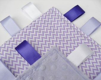 Minky Taggie Blanket Chevron Fabric taggies - Choose your Minky Colour