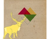 Contemporary Art Print- Caribou Geometric 9x9