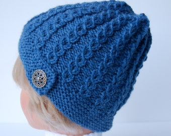 Mock cable stitch hat, hand knitted beanie, blue wool hat, knit blue hat, button brim hat, blue knit hat,  blue beanie, women's knitted hat