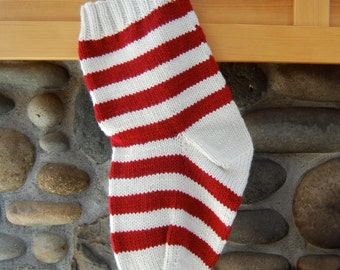 Striped Christmas stocking, knitted stocking, cream and red striped stocking, dark red stocking, personalize stocking, red Christmas knit