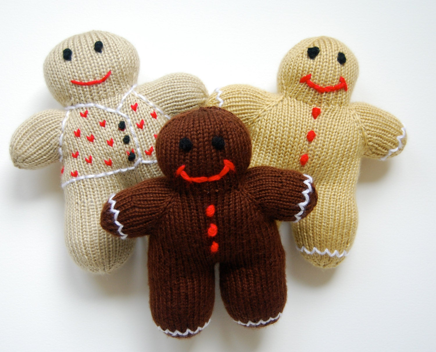Plush Gingerbread Man hand knit toy knit plush toy knit