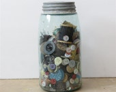 Vintage Mason Jar of Buttons and Sewing Notions with Zinc Lid