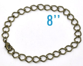 12 Textured Bracelets Antique Bronze Link Chain With Lobster Clasps 7 7/8 inches  - Ships Immediately - CH133a