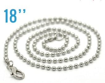 "12 Necklaces 2.4mm Antique Silver Ball Chains - 18""  -  Ships IMMEDIATELY  from California - CH257a"