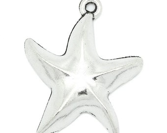 8 Silver Starfish Charms - Antique Silver - 25x20mm - Ships IMMEDIATELY from California - SC1029