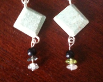 Just reduced. Ruby fuschite, green flourite and onyx earrings