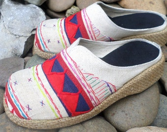 Tribal Womens Shoes Ivory Ethnic Akha Embroidered Vegan Slip On Slides Clogs
