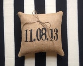 Personalized Date Burlap Ring Bearer Pillow