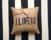 Personalized Date Burlap Ring Bearer Pillow